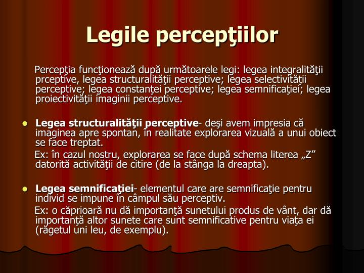 Legile percepţiilor