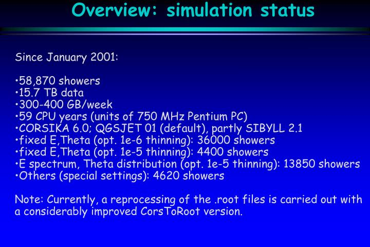 Overview simulation status