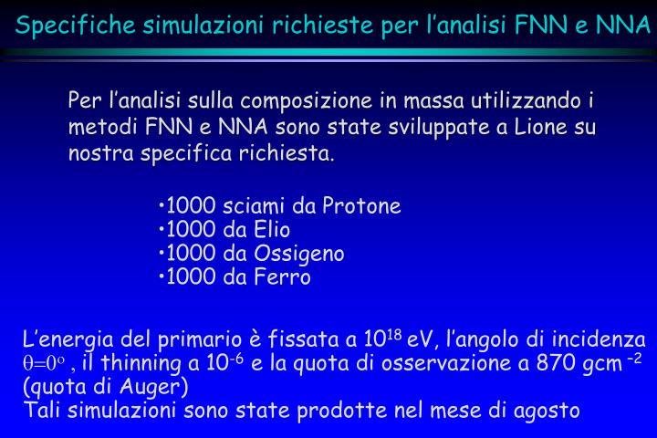 Per l'analisi sulla composizione in massa utilizzando i metodi FNN e NNA sono state sviluppate a Lione su nostra specifica richiesta.