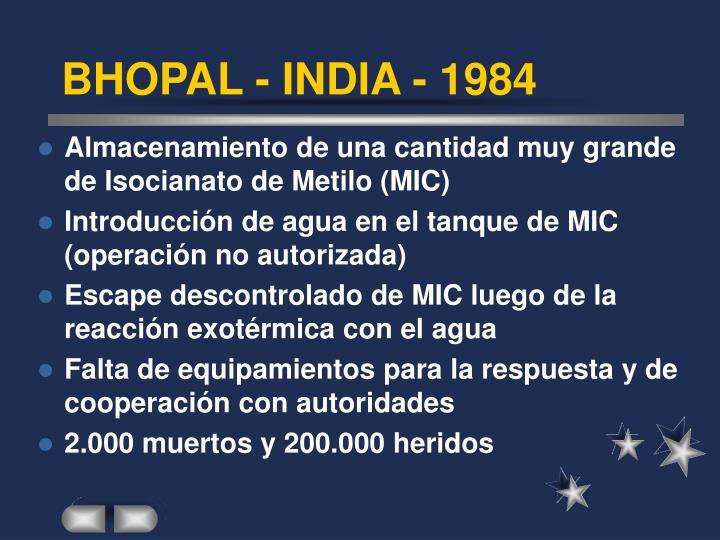 BHOPAL - INDIA - 1984
