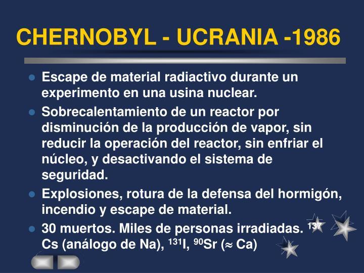 CHERNOBYL - UCRANIA -1986