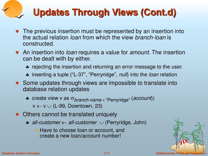 Updates Through Views (Cont.d)