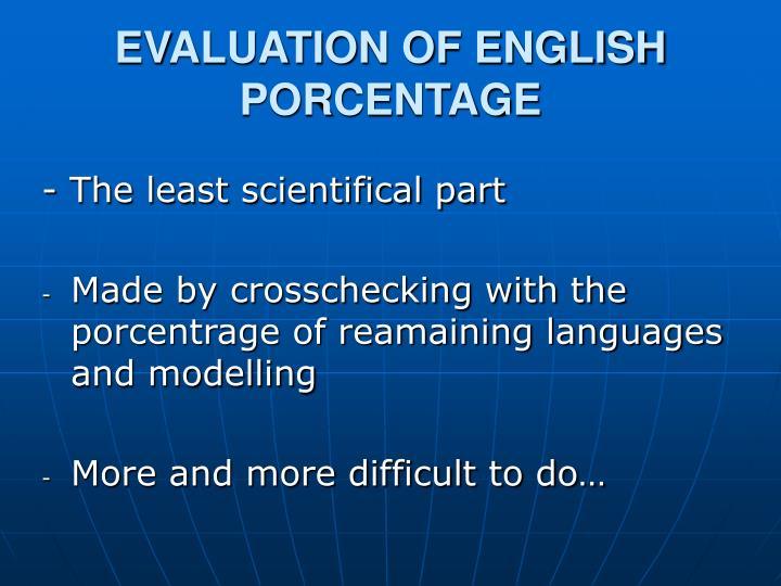 EVALUATION OF ENGLISH PORCENTAGE