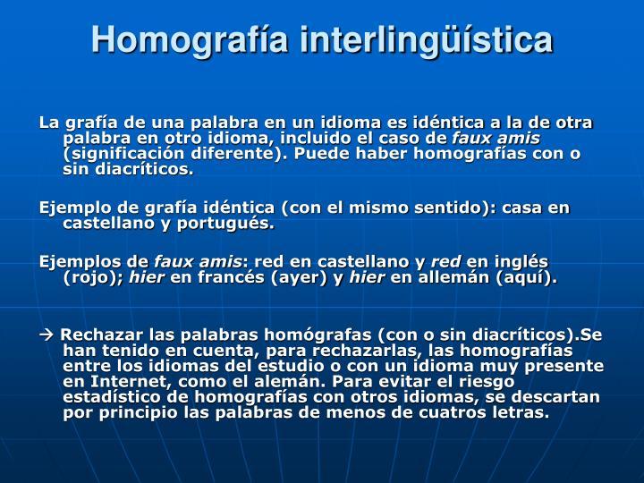 Homografía interlingüística