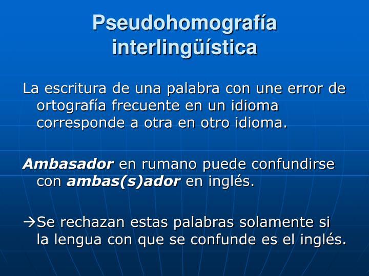 Pseudohomografía interlingüística