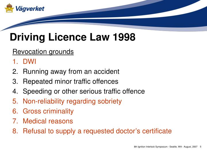 Driving Licence Law 1998