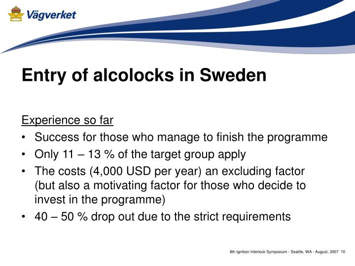 Entry of alcolocks in Sweden