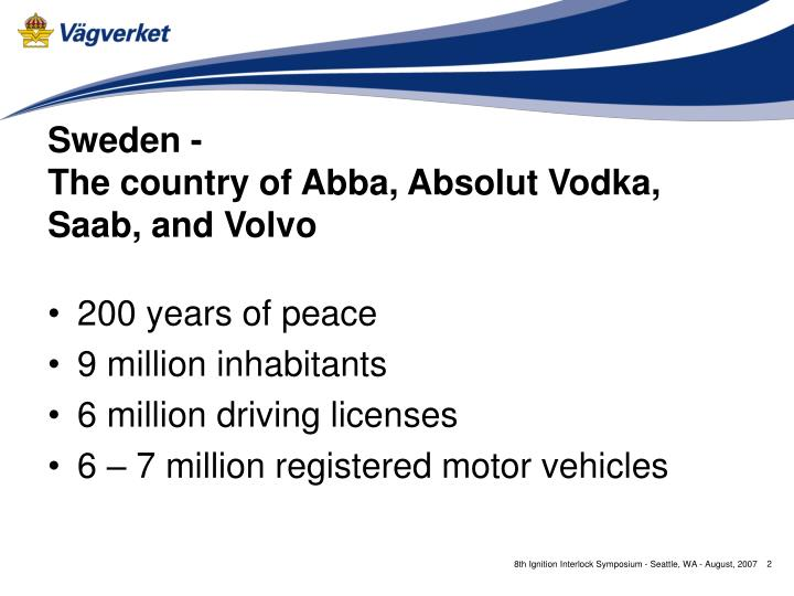 Sweden the country of abba absolut vodka saab and volvo