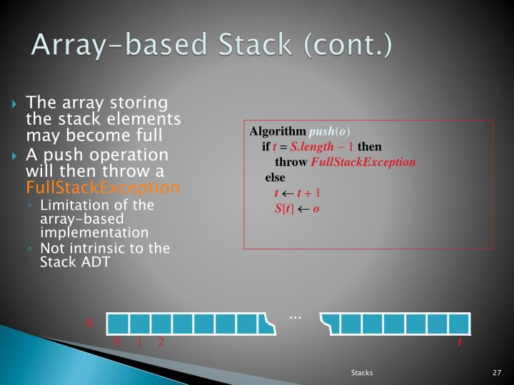 The array storing the stack elements may become full