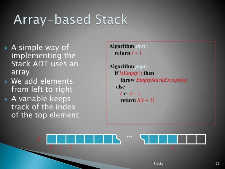 A simple way of implementing the Stack ADT uses an array