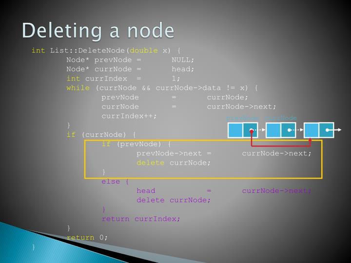 Deleting a node