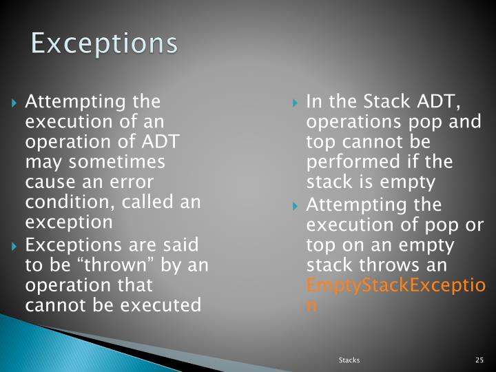 Attempting the execution of an operation of ADT may sometimes cause an error condition, called an exception