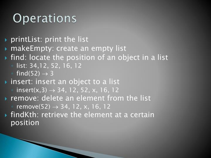 printList: print the list