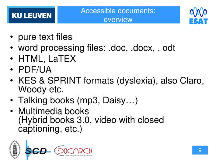 Accessible documents: