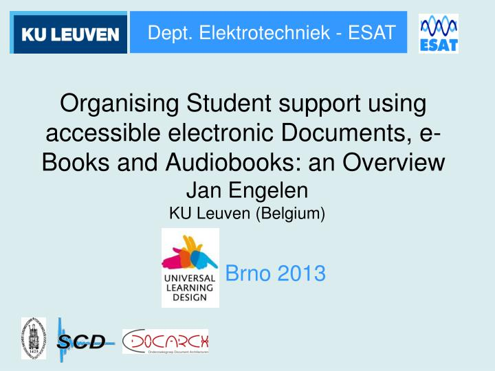 Organising student support using accessible electronic documents e books and audiobooks an overview