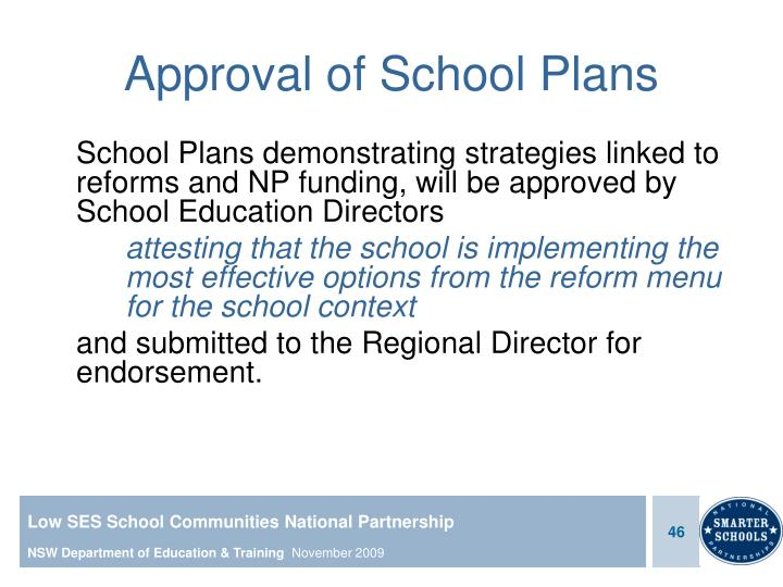 Approval of School Plans