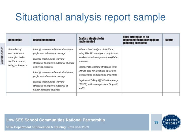 Situational analysis report sample