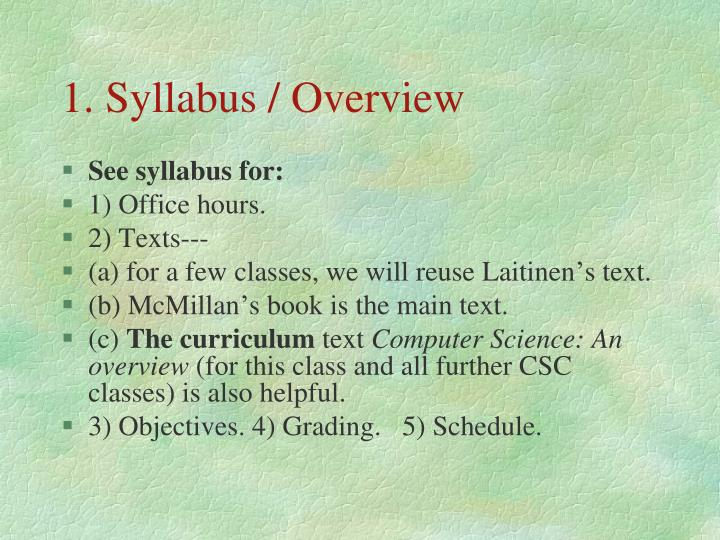 1. Syllabus / Overview