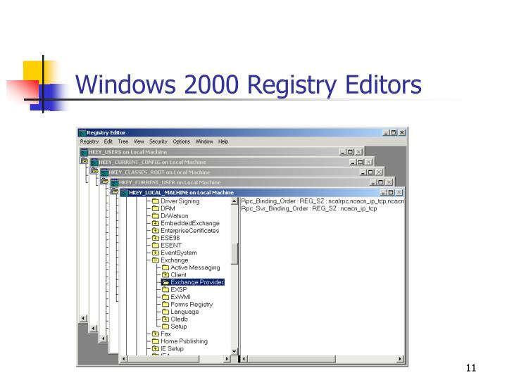 Windows 2000 Registry Editors