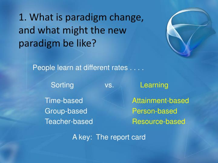 1. What is paradigm change, and what might the new paradigm be like?