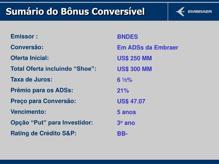 Sumário do Bônus Conversível