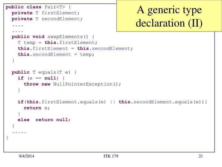 A generic type declaration (II)