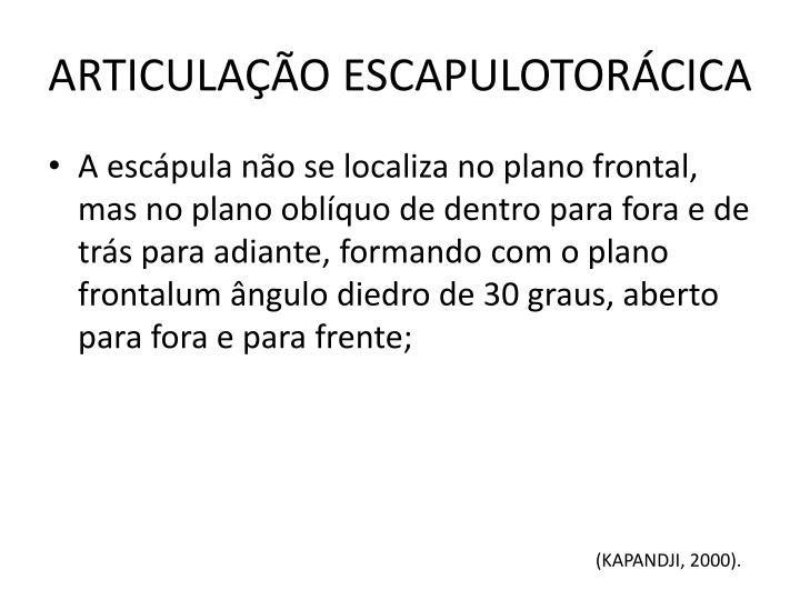 ARTICULAÇÃO ESCAPULOTORÁCICA