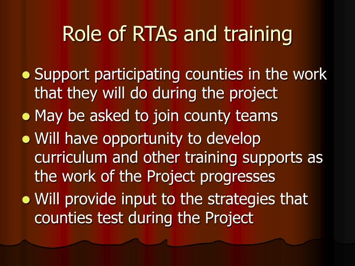 Role of RTAs and training