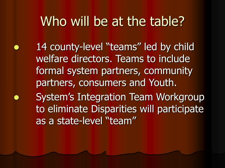 Who will be at the table?