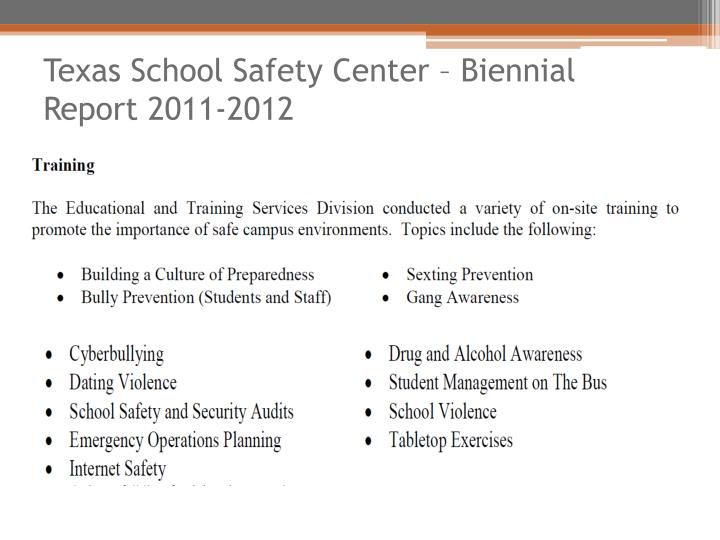 Texas School Safety Center – Biennial Report 2011-2012