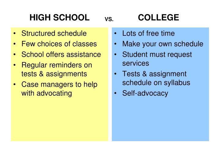Structured schedule