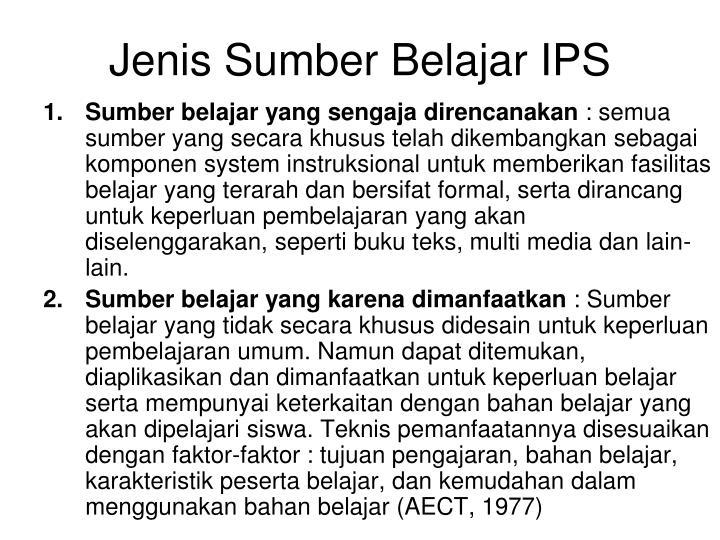 Jenis Sumber Belajar IPS