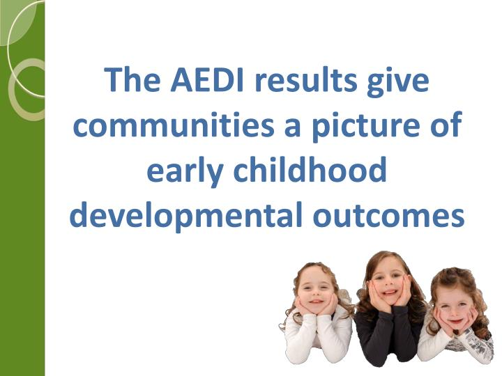 The AEDI results give communities a picture of early childhood developmental outcomes