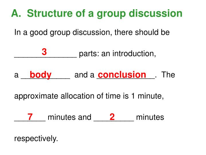 A.  Structure of a group discussion