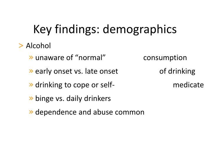 Key findings: demographics