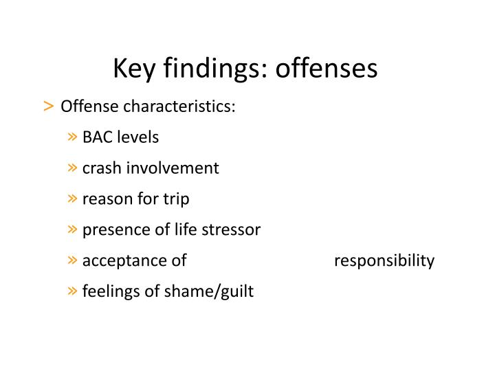 Key findings: offenses