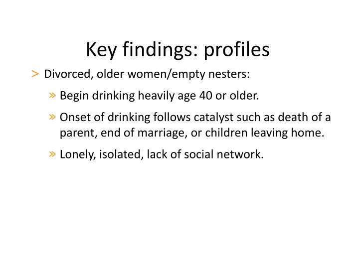 Key findings: profiles