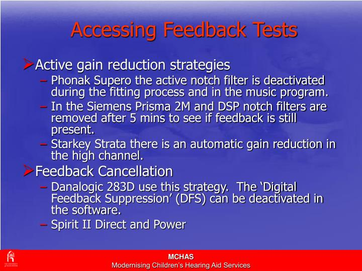 Accessing Feedback Tests