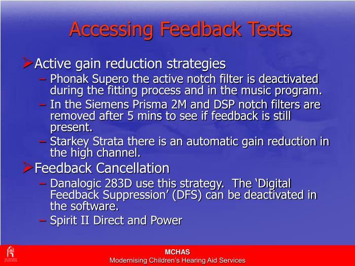 Accessing Feedback Tests