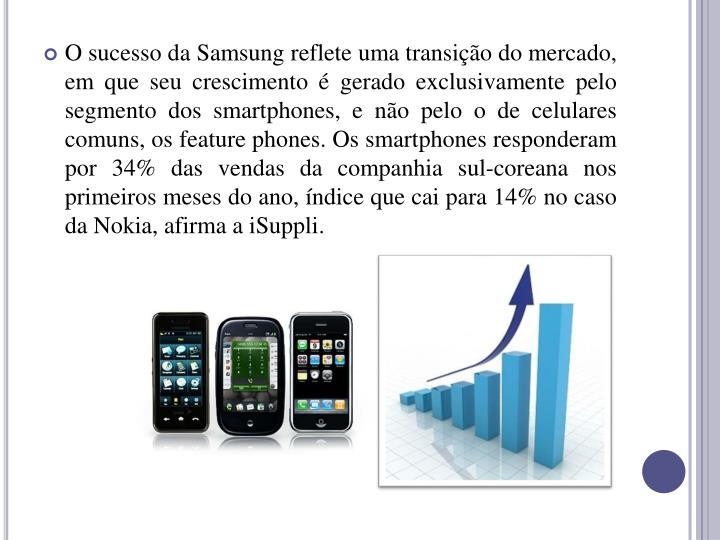O sucesso da Samsung reflete uma transio do mercado, em que seu crescimento  gerado exclusivamente pelo segmento dos smartphones, e no pelo o de celulares comuns, os feature phones. Os smartphones responderam por 34% das vendas da companhia sul-coreana nos primeiros meses do ano, ndice que cai para 14% no caso da Nokia, afirma a iSuppli.
