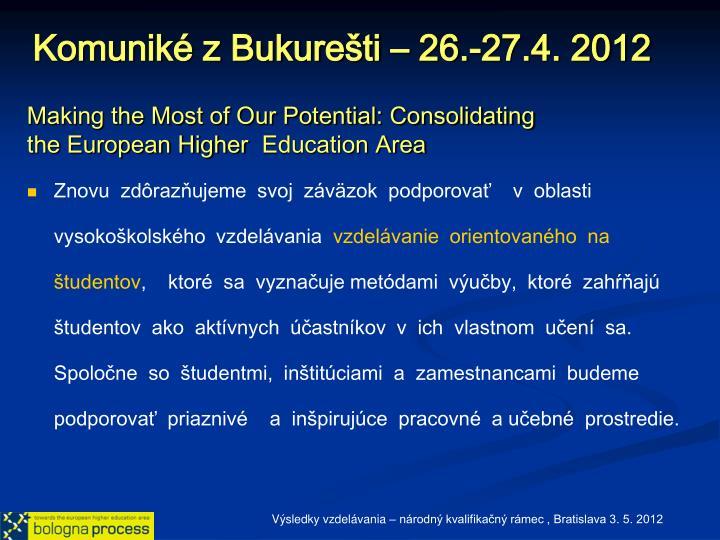 Komuniké z Bukurešti – 26.-27.4. 2012