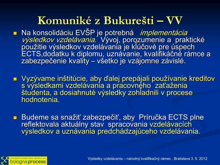 Komuniké z Bukurešti – VV