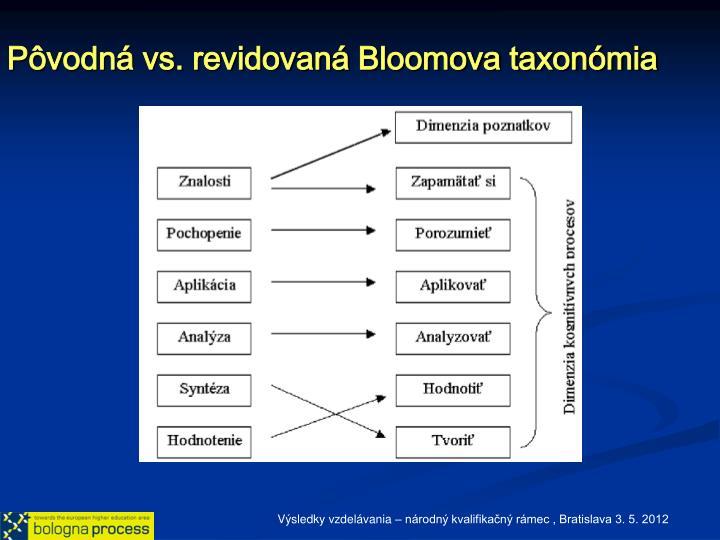 Pôvodná vs. revidovaná Bloomova taxonómia