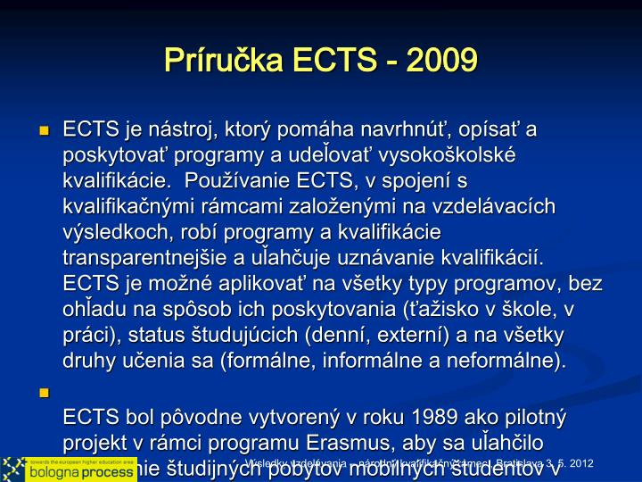 Príručka ECTS - 2009