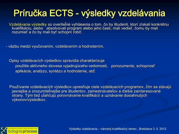 Príručka ECTS - výsledky vzdelávania