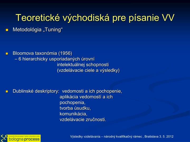 Teoretické východiská pre písanie VV