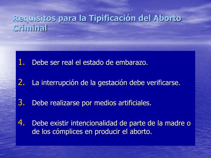Requisitos para la Tipificación del Aborto Criminal