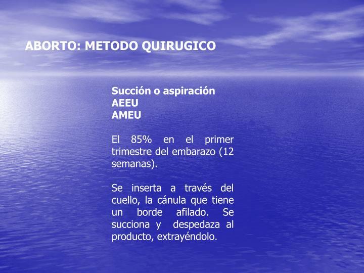 ABORTO: METODO QUIRUGICO