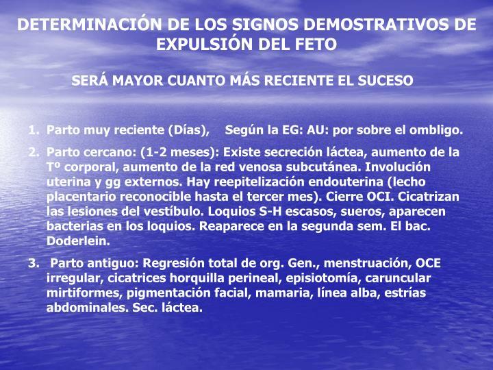 DETERMINACIÓN DE LOS SIGNOS DEMOSTRATIVOS DE EXPULSIÓN DEL FETO
