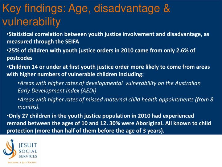 Key findings: Age, disadvantage & vulnerability